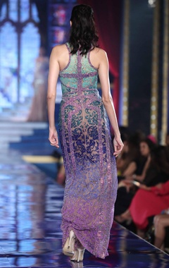 Shaded damask embroidered column gown