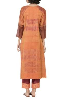 Printed notched collar kurta