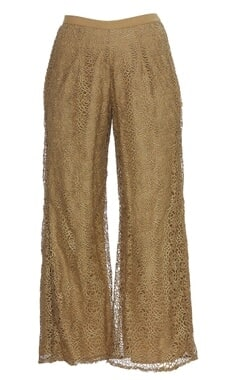 Cutwork embroidered palazzo pants