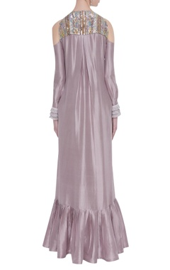 Lilac dupion crepe embroidered tunic