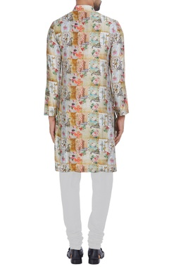 Chanderi silk printed classic kurta set