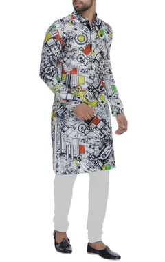 NAUTANKY - Men Printed full sleeves kurta set