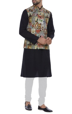 Printed nehru jacket with utility pockets