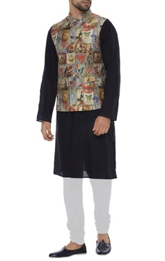 Nehru jacket with english inspired print
