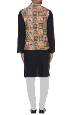 Printed khadi nehru jacket