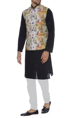 NAUTANKY - Men Khadi printed nehru jacket
