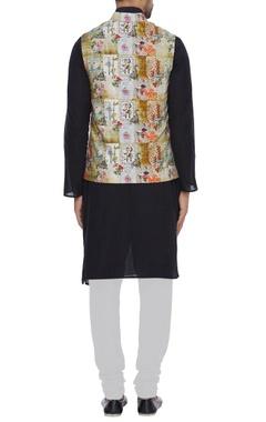 Khadi printed nehru jacket