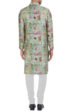 English tea party themed chanderi silk kurta set