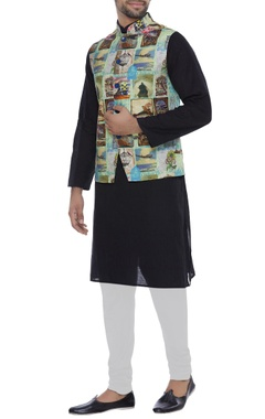 Printed nehru jacket with chest pocket