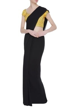 Gold dori work embroidered saree blouse