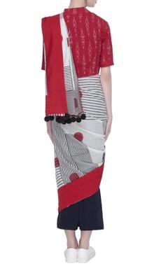 Hand block printed sari