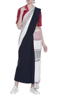 Striped sari with pom pom detail on pallu