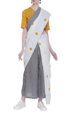Block print sari with tassel detail