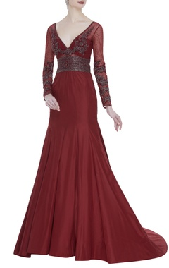 Rocky Star Plunging neckline embroidered gown