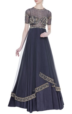 Rocky Star Embroidered double layered pleated gown