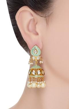 Meenakari jhumka earrings with pearl drops