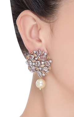 Victorian stud earrings with pearl drops