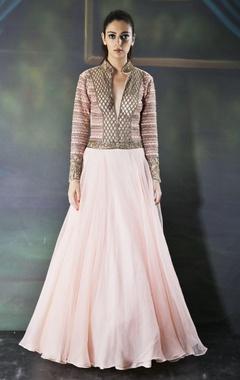 Rose pink anarkali gown