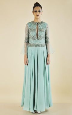 Green flared pleated jumpsuit