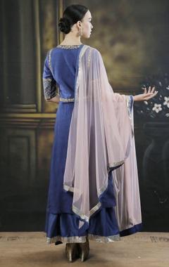 Blue dori work kurta with palazzos
