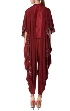 Maroon embroidered pant set