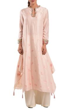 Pink chanderi silk kurta