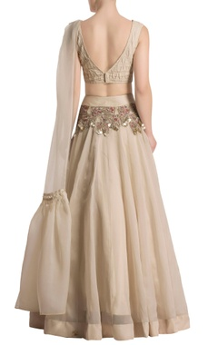 Cream embellished lehenga set