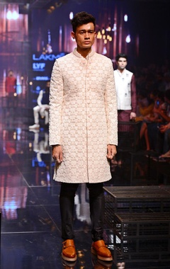 Vanilla embroidered Sherwani with silk kurta & churidaar