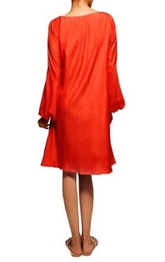 Orange bird embroidered dress