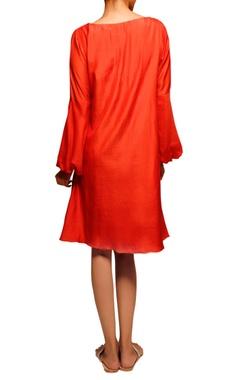 orange bird embroidered dress