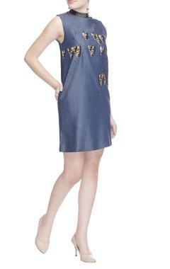 Denim blue high neck dress