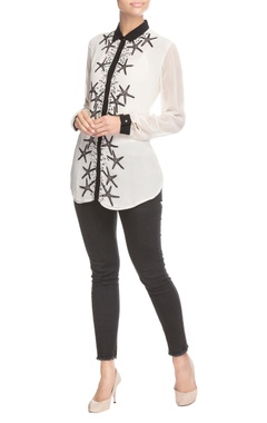 White embellished star shirt