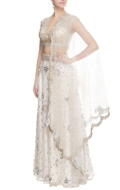Seema Khan White sequin lehenga with dupatta
