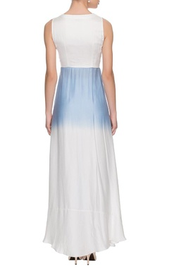 white & blue embroidered maxi dress