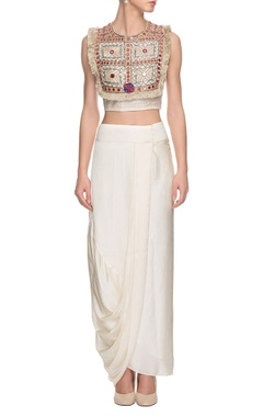 white afghan crop top & skirt