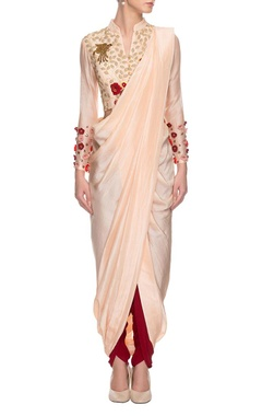 nude embroidered draped sari set