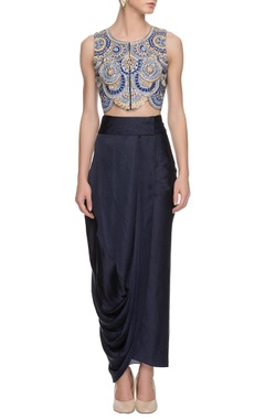 blue embroidered crop top & skirt