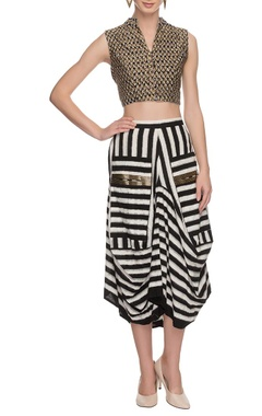 black & white draped skirt