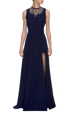 Navy blue embroidered anarkali with churidar