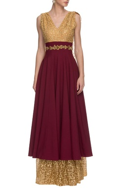 Maroon & gold embroidered trail anarkali