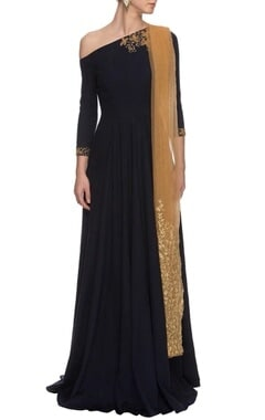 navy blue & gold one-shouldered anarkali
