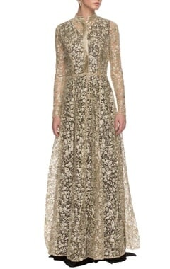 white & gold embroidered jacket with black anarkali