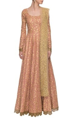 onion pink & gold embroidered anarkali
