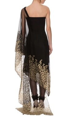 black embroidered off-shouldered sari drape kaftan set