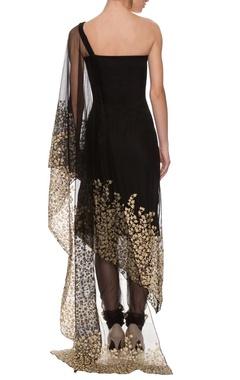 Black embroidered off-shouldered sari drape kaftan set