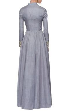 Lilac blue embroidered jacket lehenga
