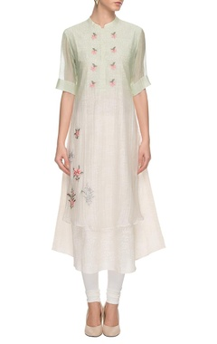 sage green embroidered kurta