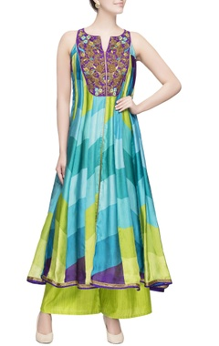 multicolored anarkali & flared palazzos