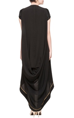 black asymmetric kurta with leggings