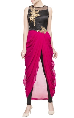 pink & black dhoti kurta with leggings